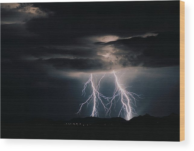 Arizona Wood Print featuring the photograph Carefree Lightning by Cathy Franklin