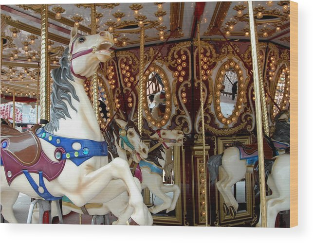 Carrousel Horse Canvas Prints Wood Print featuring the photograph Carrousel 41 by Joyce StJames