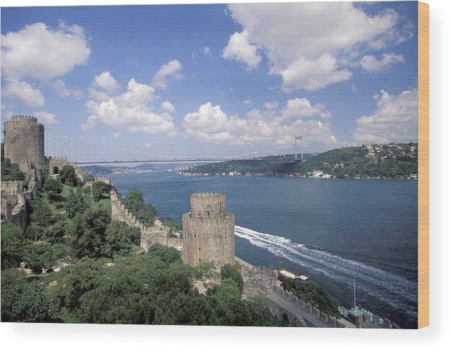 Castle Wood Print featuring the photograph Castle At Rumelihisan Along Side by Richard Nowitz