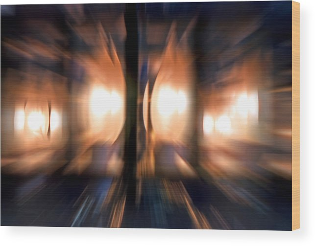 Lights Wood Print featuring the photograph Chandelier With Zoom Effect by Steve Ohlsen
