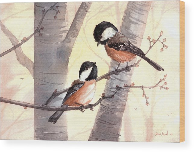 Birds Wood Print featuring the painting Chic Chat by Sean Seal