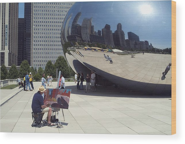 Cloud Gate Wood Print featuring the photograph Chicago by Charles Ridgway