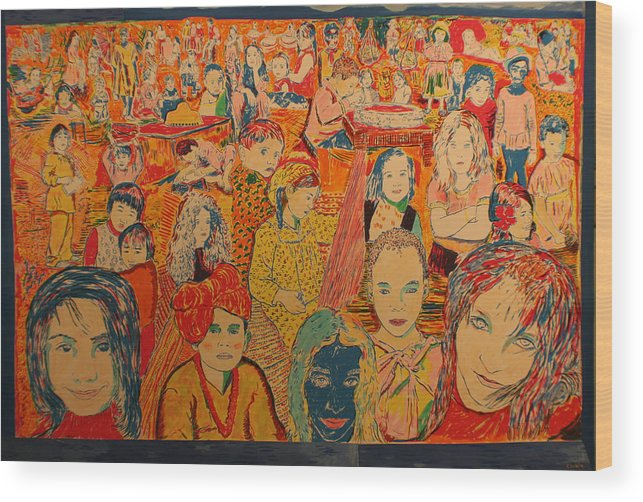 Wood Print featuring the painting Children Of The World by Biagio Civale