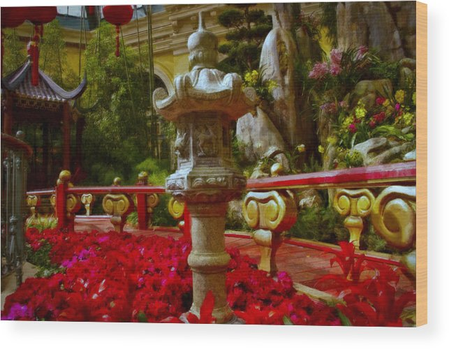 Landscape Wood Print featuring the painting China Garden by Stephen Campbell