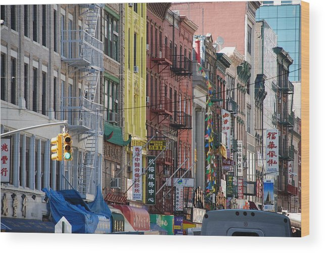 Architecture Wood Print featuring the photograph Chinatown Walk Ups by Rob Hans