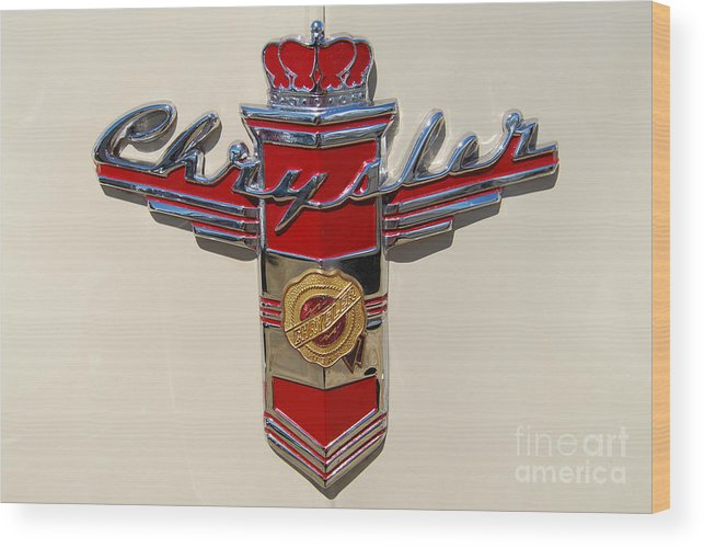 Automobile Wood Print featuring the photograph Chrysler Hood Logo by Larry Keahey