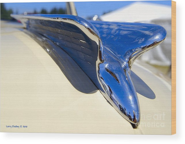 Chrysler Wood Print featuring the photograph Chrysler New Yorker Deluxe Hood Ornament by Larry Keahey