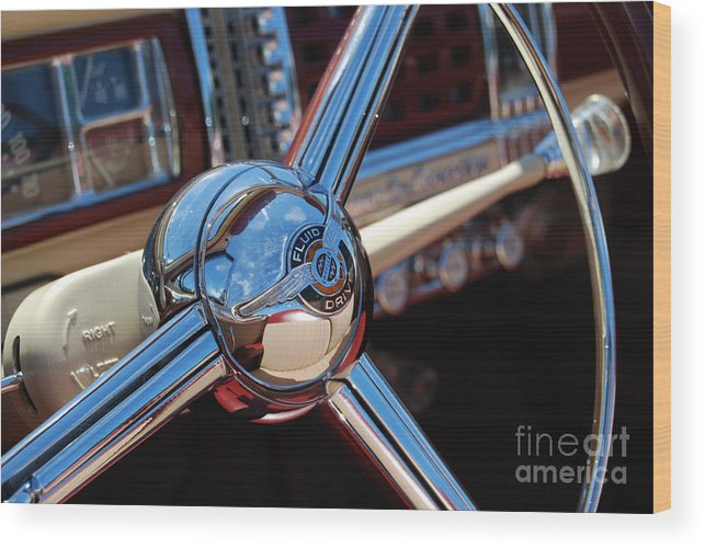 Classics Wood Print featuring the photograph Chrysler Town And Country Steering Wheel by Larry Keahey