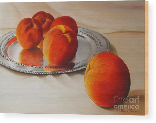 Still Life Wood Print featuring the painting Cinque Pesche by Colleen Brown