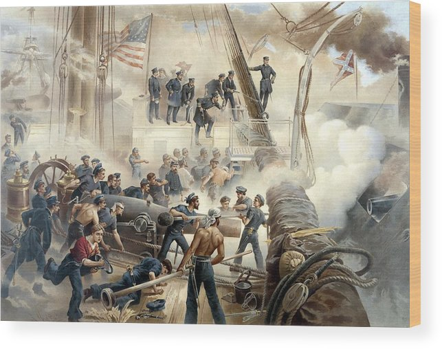 Civil War Wood Print featuring the painting Civil War Naval Battle by War Is Hell Store