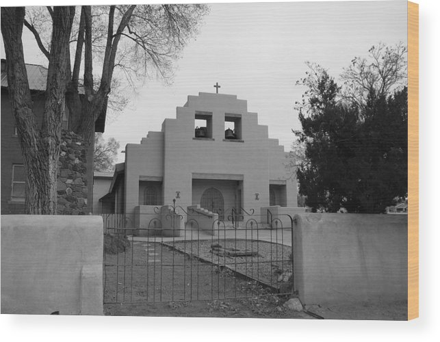 Architecture Wood Print featuring the photograph Cochiti Church by Rob Hans