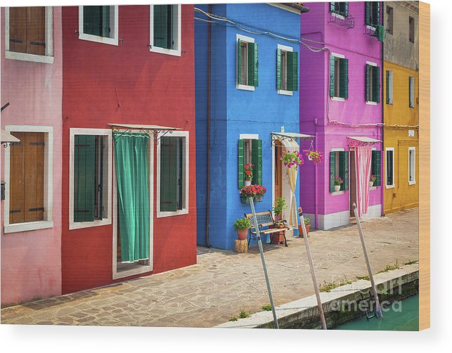 Burano Wood Print featuring the photograph Colorful Street by Inge Johnsson