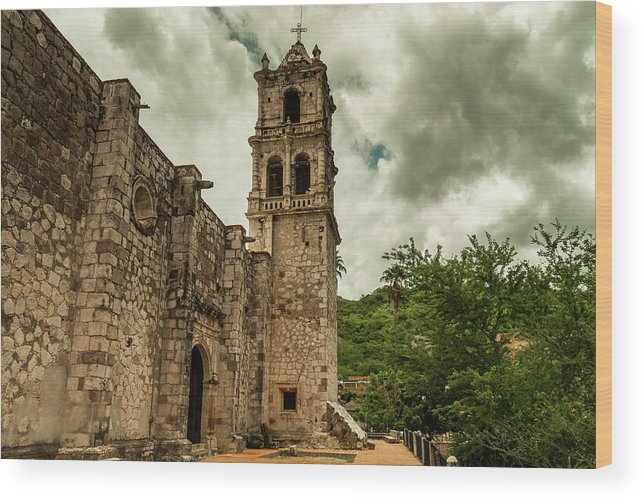 Landscape Wood Print featuring the photograph Copala Church by Javier Flores