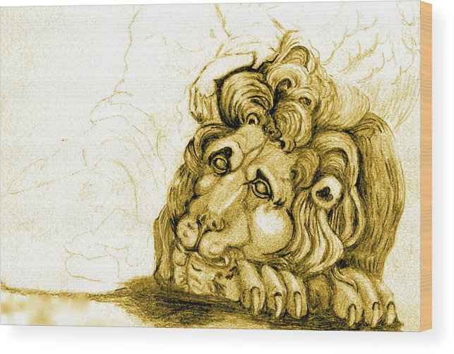 Lion Wood Print featuring the drawing Cordoba Lion by Dan Earle