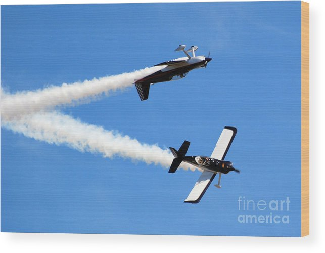 Airplanes Wood Print featuring the photograph Crossing Paths by Larry Keahey