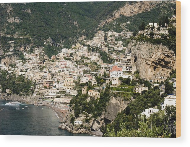 Amalfi Wood Print featuring the photograph Crowded Slopes Of Amalfi by Charles Ridgway