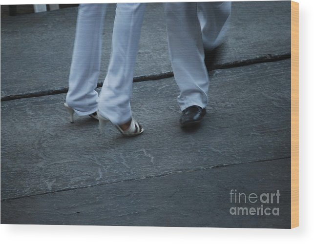 Dancing Wood Print featuring the photograph Dancing Feet At The Dominican Republic Son Party Number Two by Heather Kirk