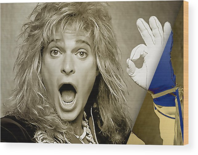 David Lee Roth Wood Print featuring the mixed media David Lee Roth Collection by Marvin Blaine