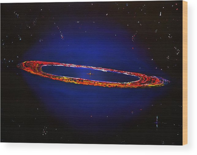 Space Wood Print featuring the painting Deep Space Hubble by Gregory Allen Page