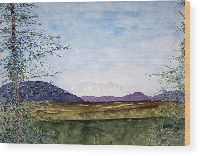 Alaska Art Wood Print featuring the painting Denali In July by Larry Wright