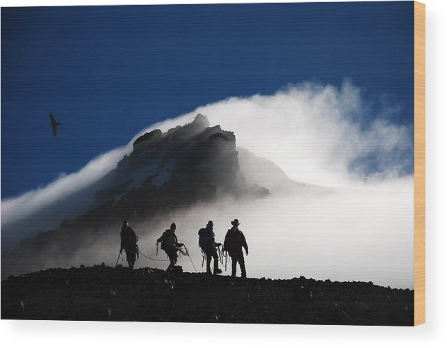 Climbers Wood Print featuring the photograph Descent From Storm by Alasdair Turner