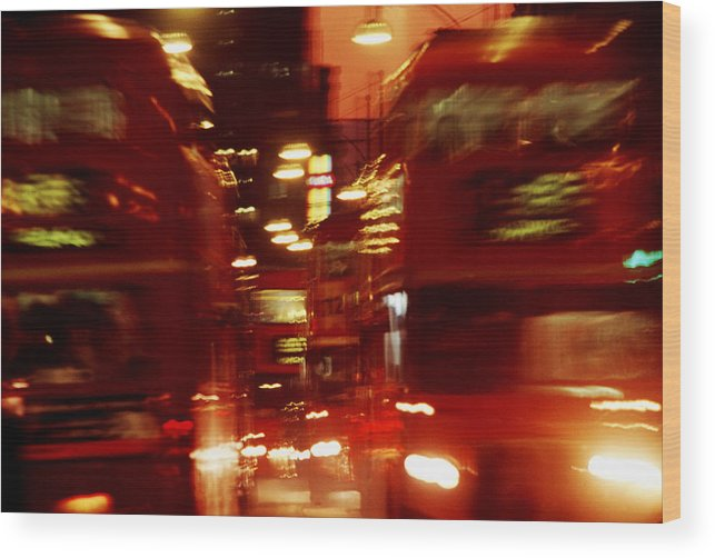 Bus Wood Print featuring the photograph Doubledecker Bus Blur London by Brad Rickerby
