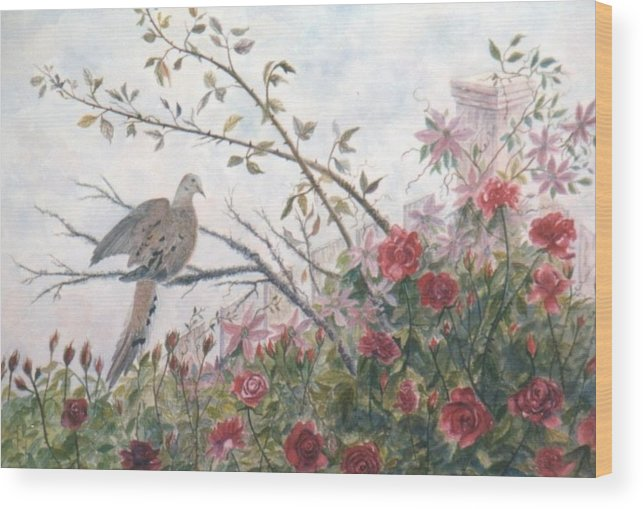 Dove; Roses Wood Print featuring the painting Dove And Roses by Ben Kiger