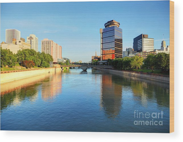 Rochester New York Wood Print featuring the photograph Downtown Rochester New York by Denis Tangney Jr