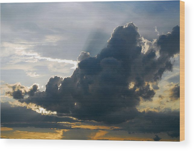 Provence Wood Print featuring the photograph Dramatic Sky With Crepuscular Rays by Anne Keiser