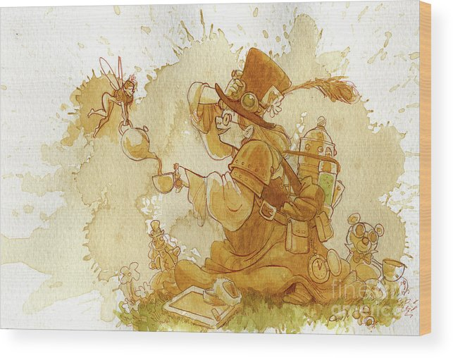 Steampunk Wood Print featuring the painting Dress Up by Brian Kesinger