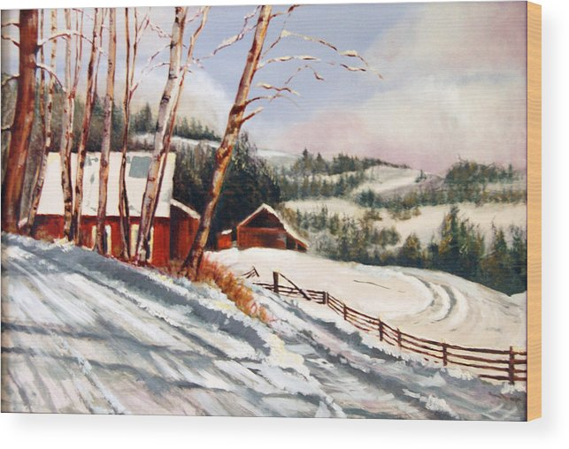 Snow Wood Print featuring the painting Elephant Mountain Ranch by Susan Moore