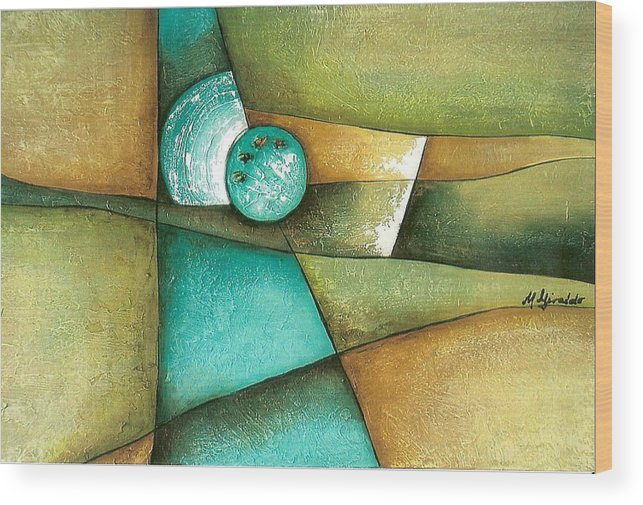 Contemporary Abstract Wood Print featuring the painting Esmeralda by Marta Giraldo
