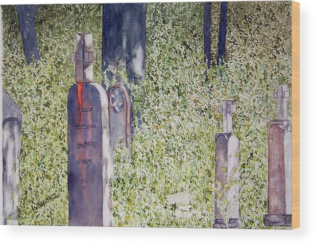 Cemeteries Wood Print featuring the painting Eternity In Hoonah by Larry Wright