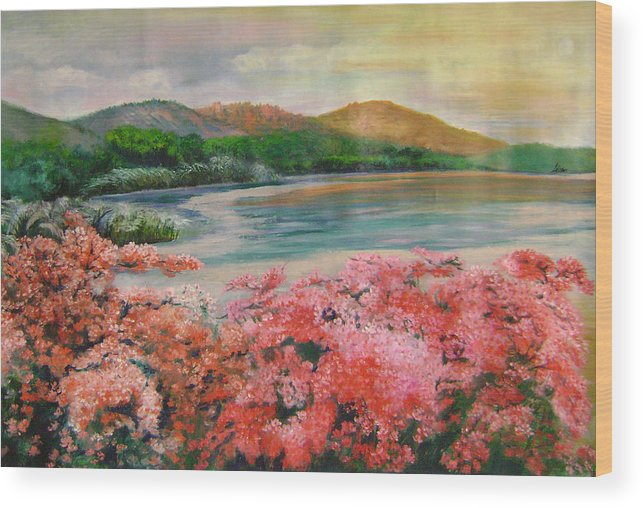 Floral Wood Print featuring the painting Evening Flowers by Lian Zhen