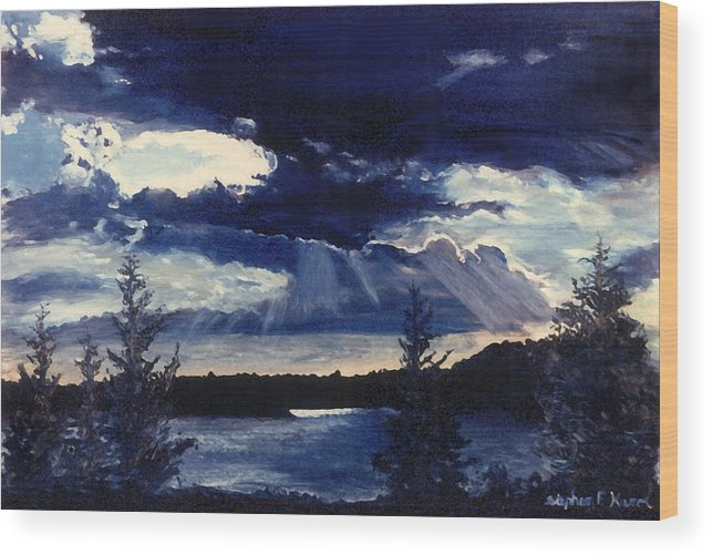 Landscape Wood Print featuring the painting Evening Lake by Steve Karol
