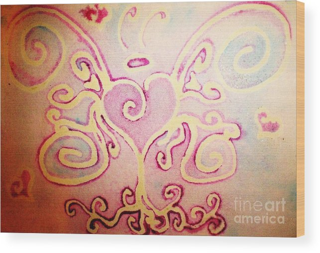 Love Wood Print featuring the painting Fairylove by Chandelle Hazen