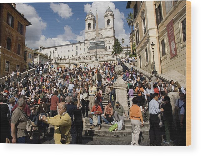 Spanish Steps Wood Print featuring the photograph Famoust Spanish Steps In Rome by Charles Ridgway