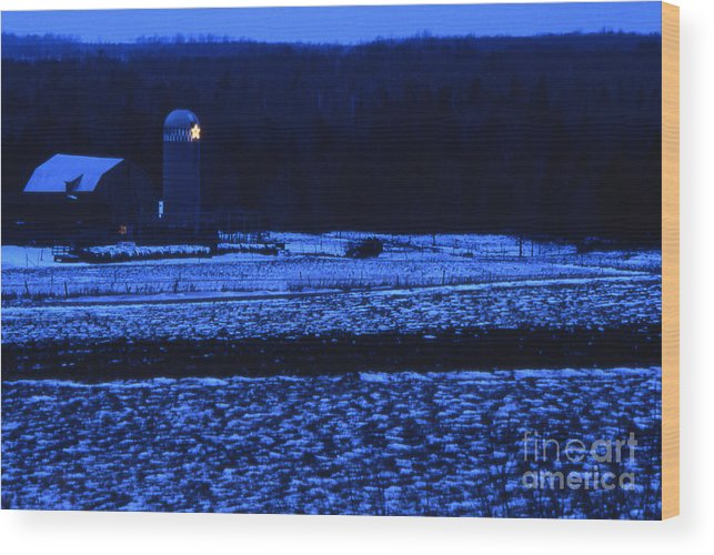 Barn Wood Print featuring the photograph Farm At Christmas by Timothy Johnson