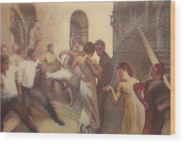 Dancing In The Street Wood Print featuring the painting Fiesta Espanola by James LeGros