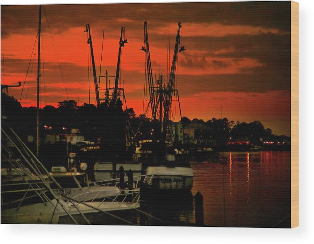 Color Photograph Wood Print featuring the photograph Fire In The Sky by Wayne Denmark