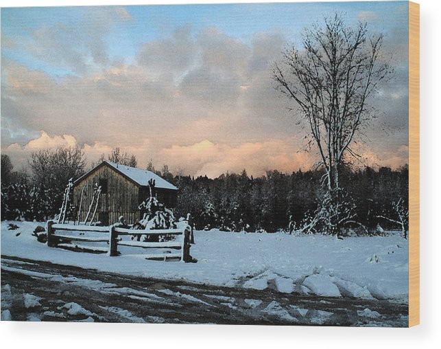 Landscapes Wood Print featuring the photograph First Snow by Linda Joyce Ott