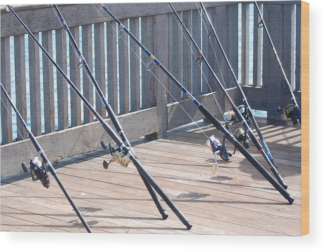 Pier Wood Print featuring the photograph Fishing Rods by Rob Hans