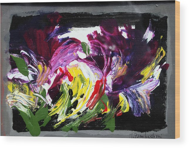 Abstract Wood Print featuring the painting Floral Flow by Mario Zampedroni
