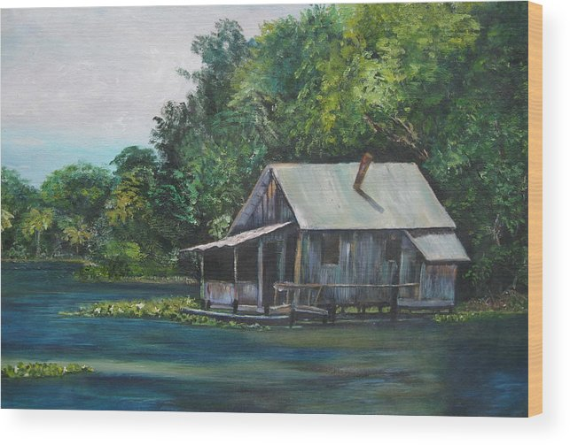 Florida Wood Print featuring the painting Florida Fishing Shack by Lessandra Grimley