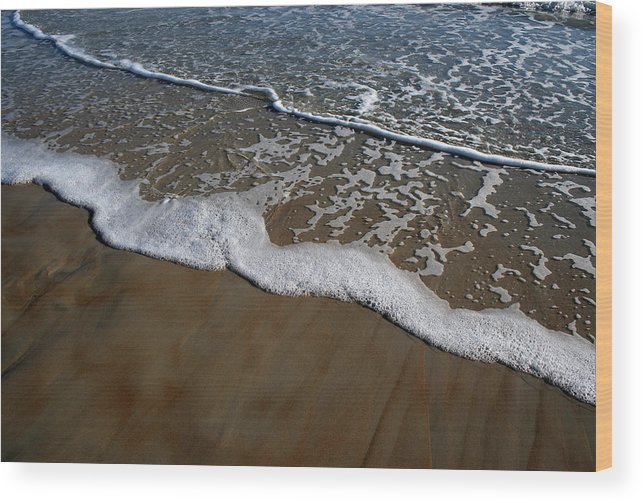 Beach Sand Wave Waves Foam Foamy White Sunny Clear Water Ocean Wood Print featuring the photograph Foamy Water by Andrei Shliakhau