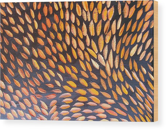 Aboriginal Ethnic Abstract Warm Cultural Wood Print featuring the painting Follow Me by Sher Green