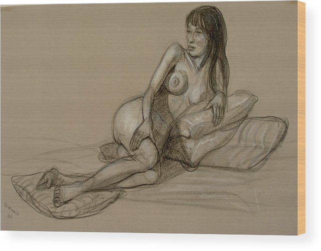 Realism Wood Print featuring the drawing French Model by Donelli DiMaria