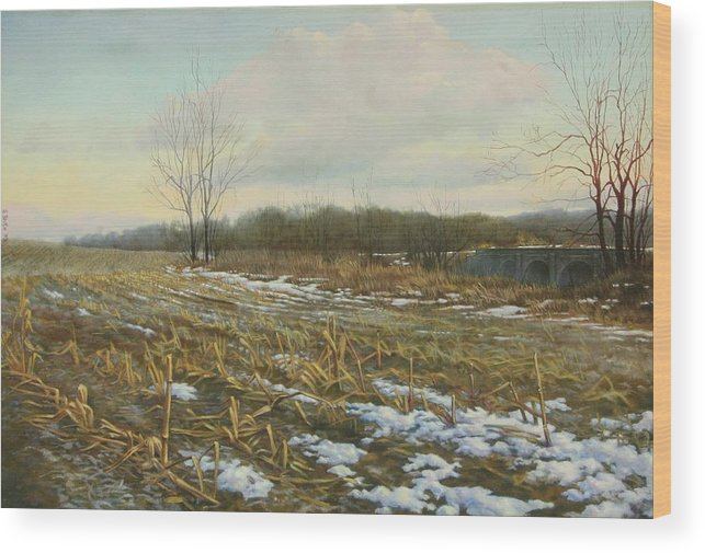 Landscape Wood Print featuring the painting Frost by Stephen Bluto