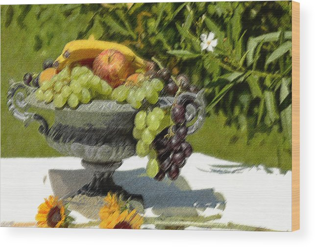 Fruit Wood Print featuring the digital art Fruit Bowl by CR Beaumont