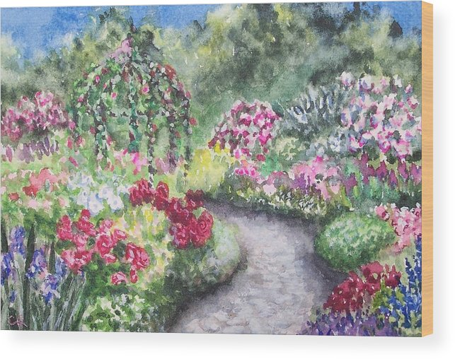 Flowers Wood Print featuring the painting Garden Path by Conni Reinecke